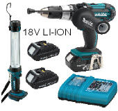 MAK-BHP454ZKCLE - MAKITA IMPACT DRILL WITH HAMMER ACTION, 18V LI-ION. VALUE PACK